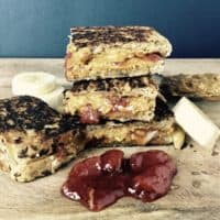 Grilled Peanut Butter Banana & Jelly Sandwich