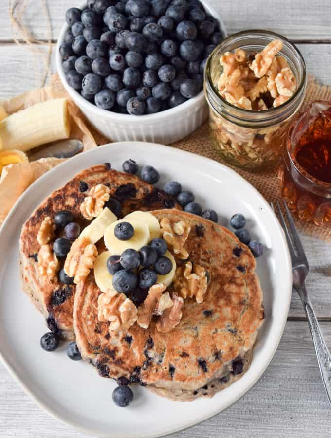Wicked Blueberry Banana Pancakes