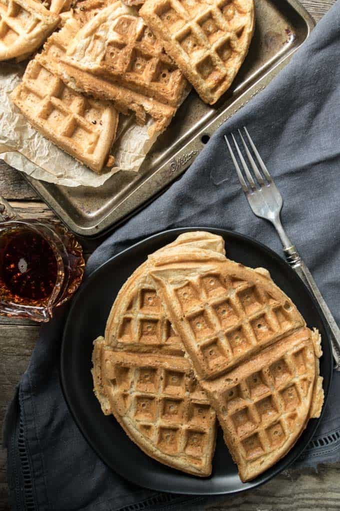 Vegan belgian waffles on plate.