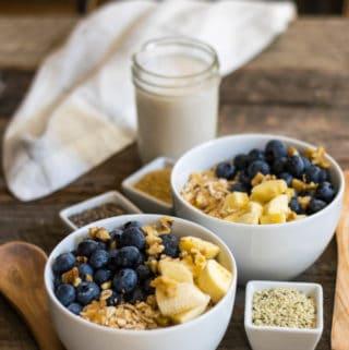 Raw Oat Blueberry Banana Nut Breakfast Bowl