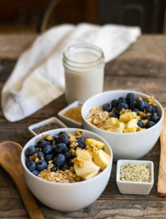 Raw Oat Blueberry Banana Nut Breakfast Bowl