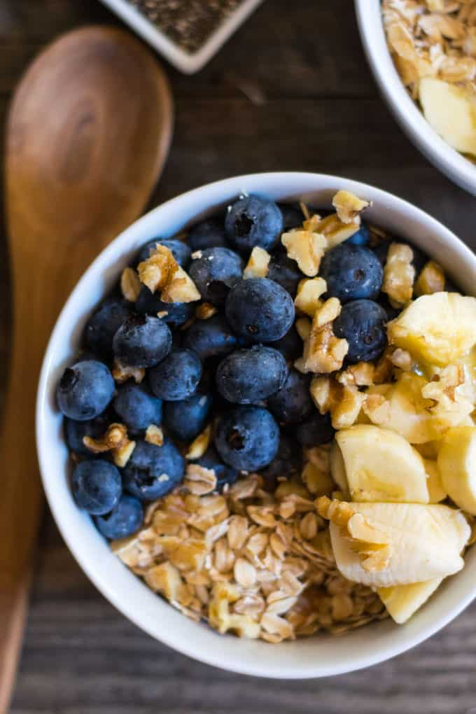 Raw Oat Blueberry Banana Nut Power Bowl