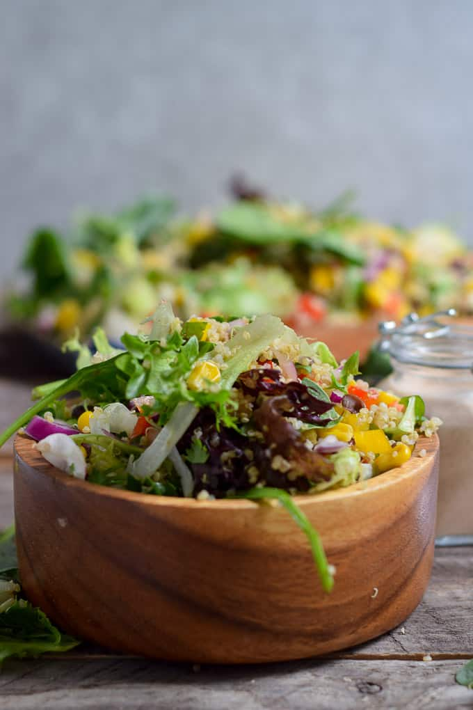 Quinoa Black Bean Summer Salad in bowl with no dressing