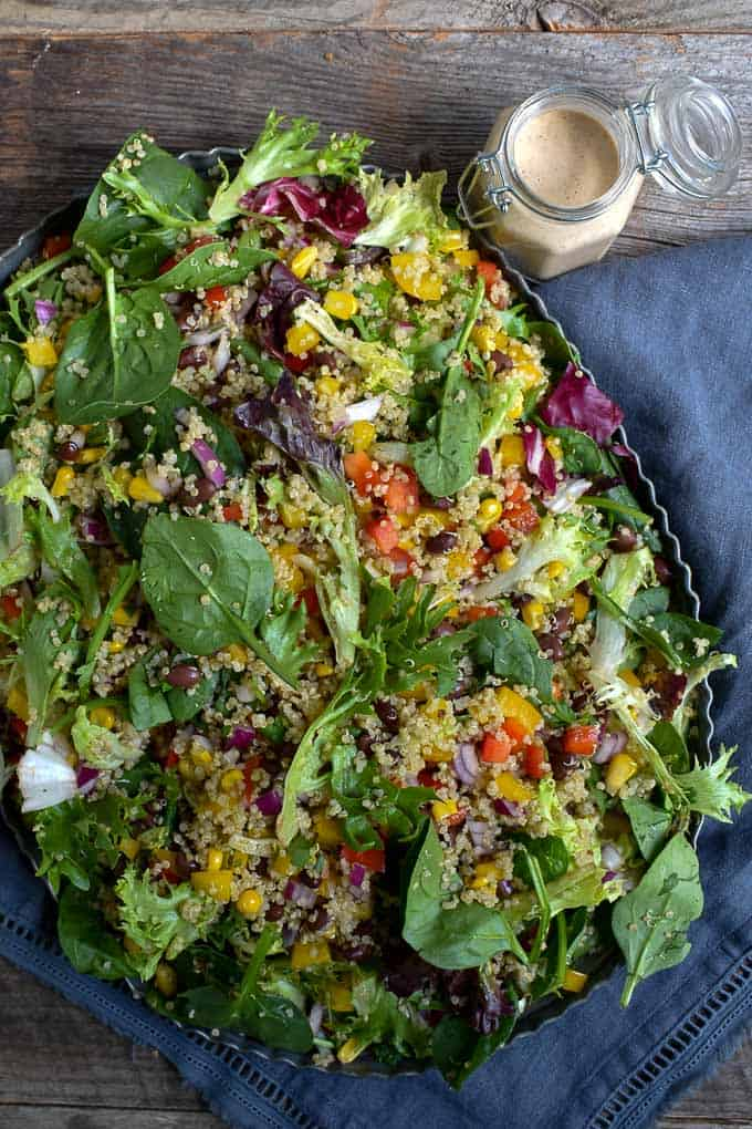 Quinoa Black Bean Summer Salad on tray