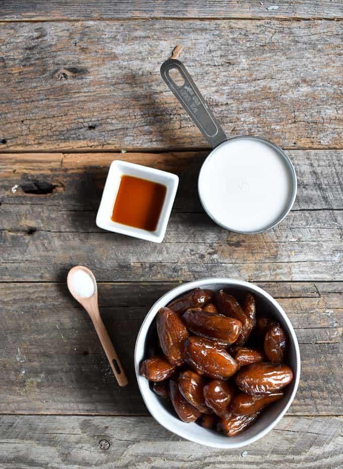 Easy vegan date caramel ingredients on table.