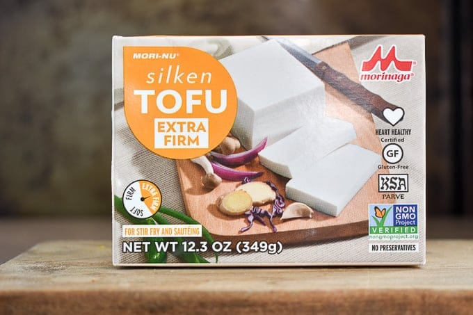 Box of silken tofu sitting on table