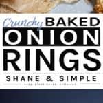 Crunchy baked onion rings pinterest banner.