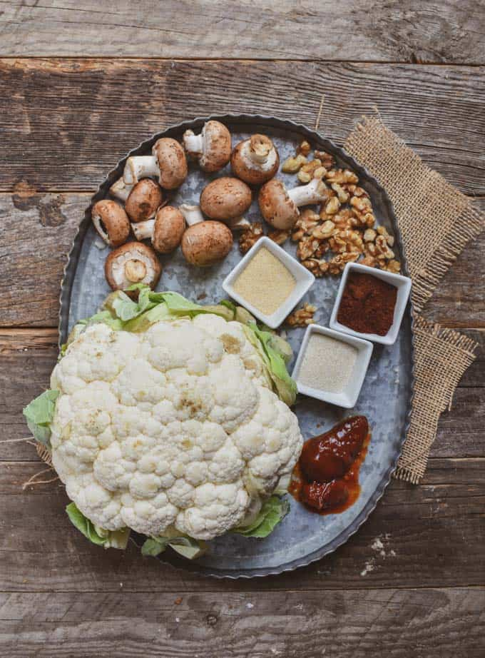 Cauliflower mushroom walnut vegan taco meat ingredients.