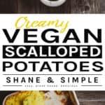 Creamy Vegan Scalloped Potatoes pinterest banner
