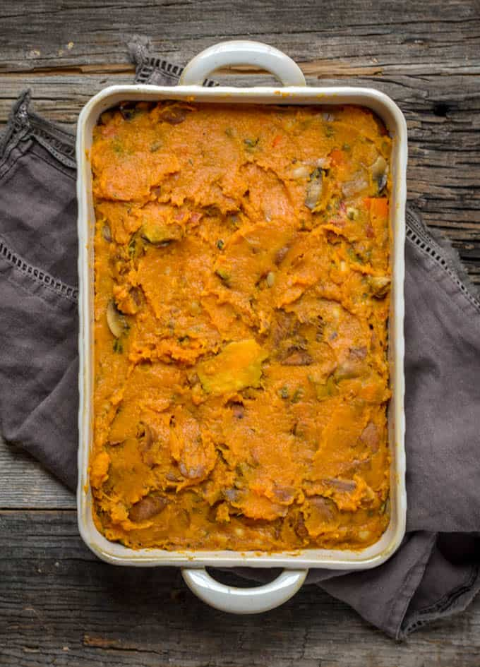 Vegan sweet potato shepherds pie in baking dish.