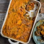 Sweet potato shepherds pie in baking dish.