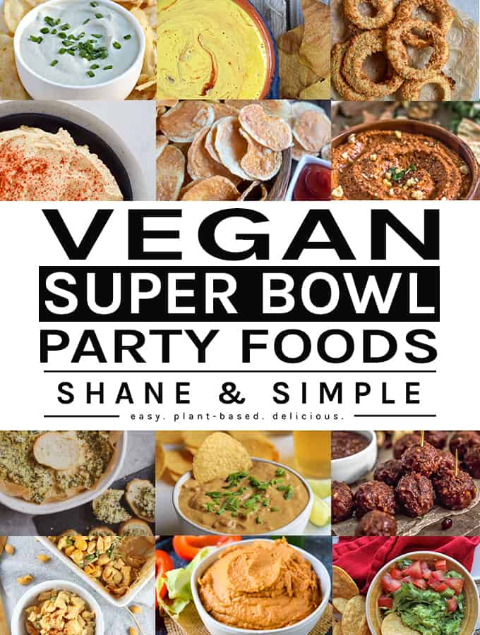 Vegan super bowl party foods featured image.