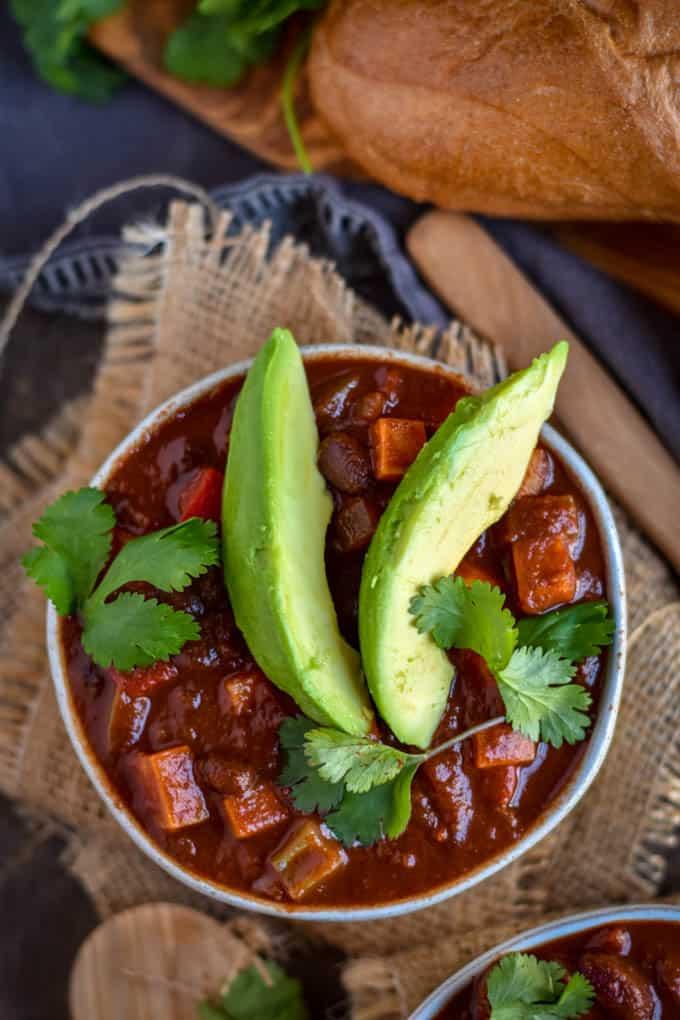 Sweet potato black bean chili with avocados.