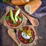 Sweet potato black bean chili on table.