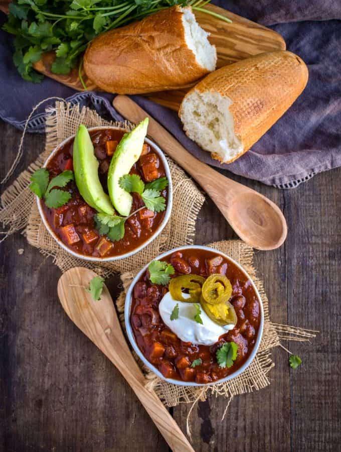 Sweet potato black bean chili on table.