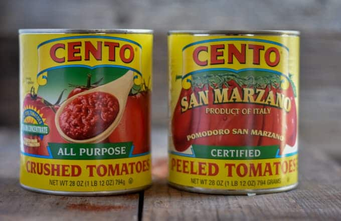 Canned tomatoes for sweet potato black bean chili.