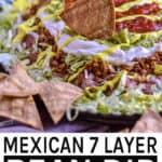 Mexican Seven Layer Bean Dip pinterest 600x900 banner.