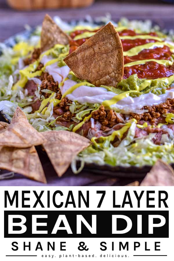 Mexican Seven Layer Bean Dip pinterest 600x900 banner.