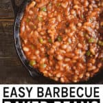 Easy barbecue baked beans pinterest banner.