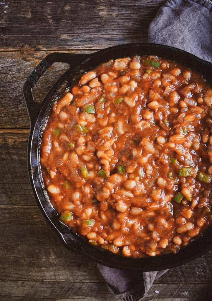 Easy Barbecue Baked Beans in cast iron skillet.