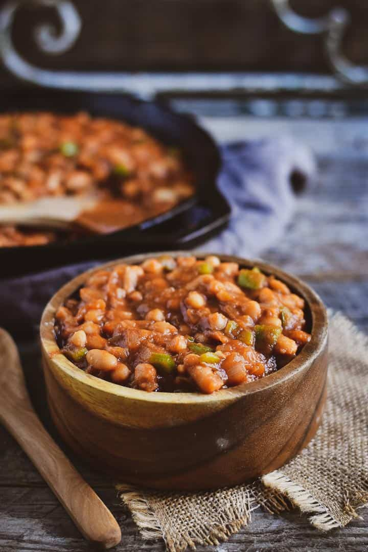 Easy barbecue baked beans in wooden bowl.