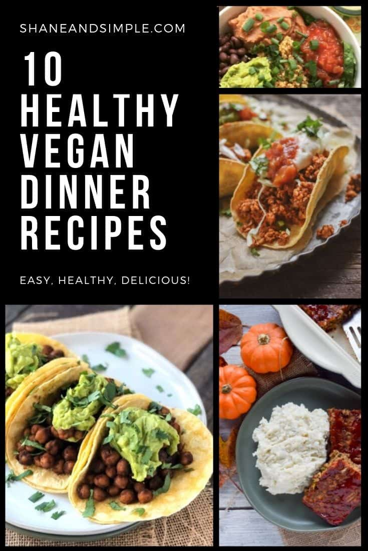 Ten healthy vegan dinner recipes banner.
