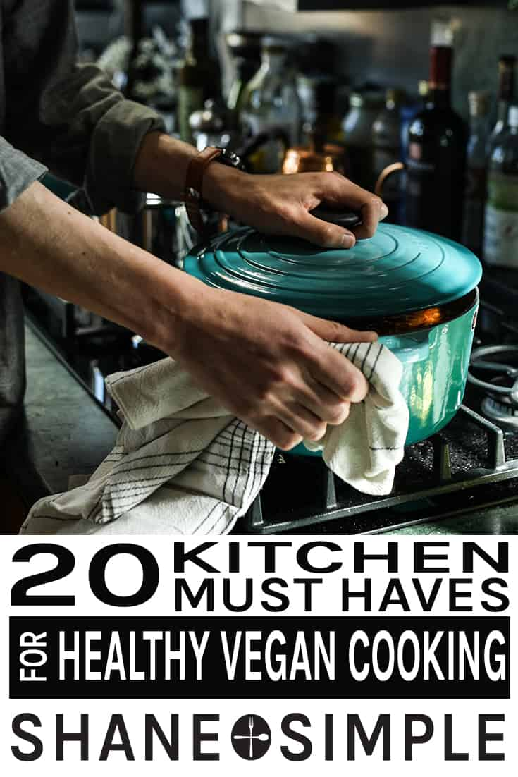 20 kitchen must haves for healthy vegan cooking pinterest banner.
