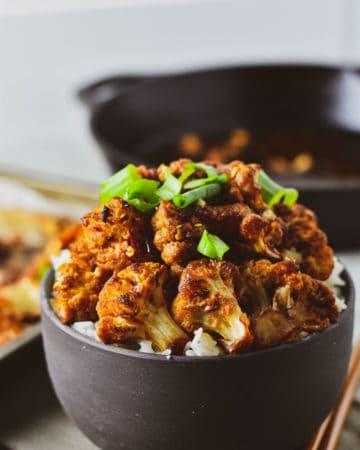 Sweet chili roasted cauliflower over rice.