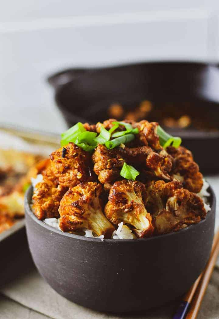 Sweet chili roasted cauliflower over rice.