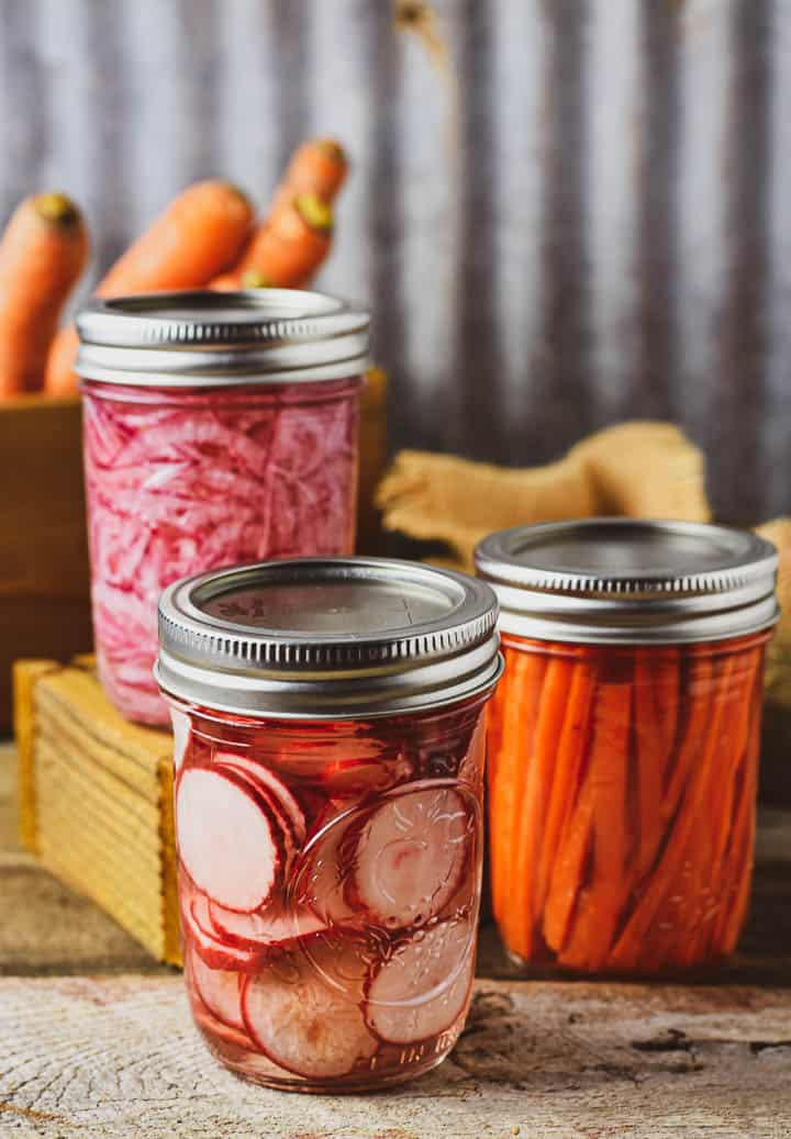 Easy pickled vegetables in jars with lids.