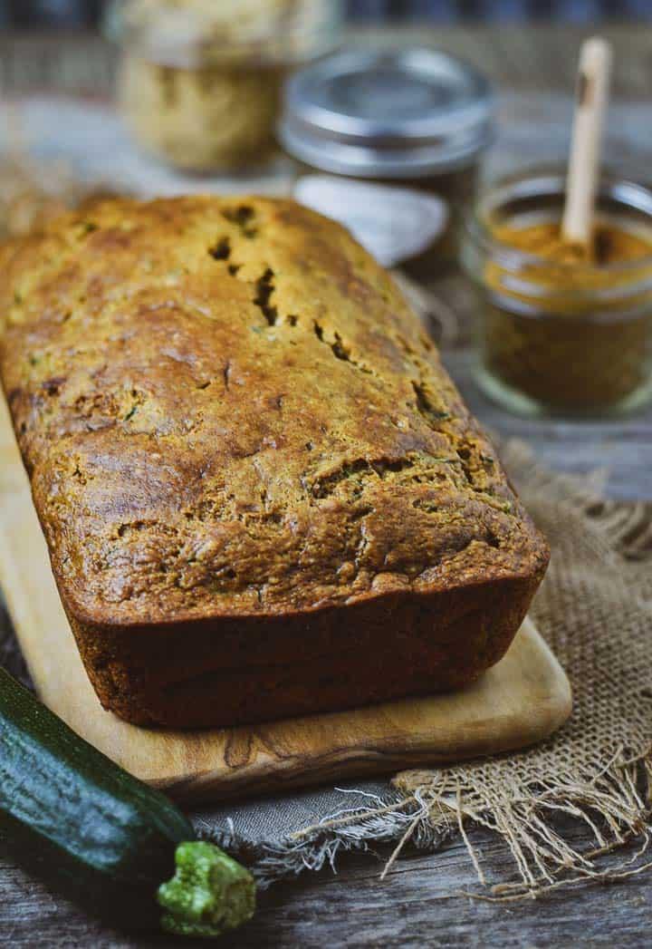 Vegan zucchini bread on cutting board
