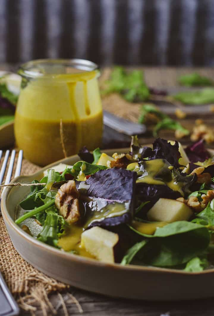 Salad with honey mustard dressing.