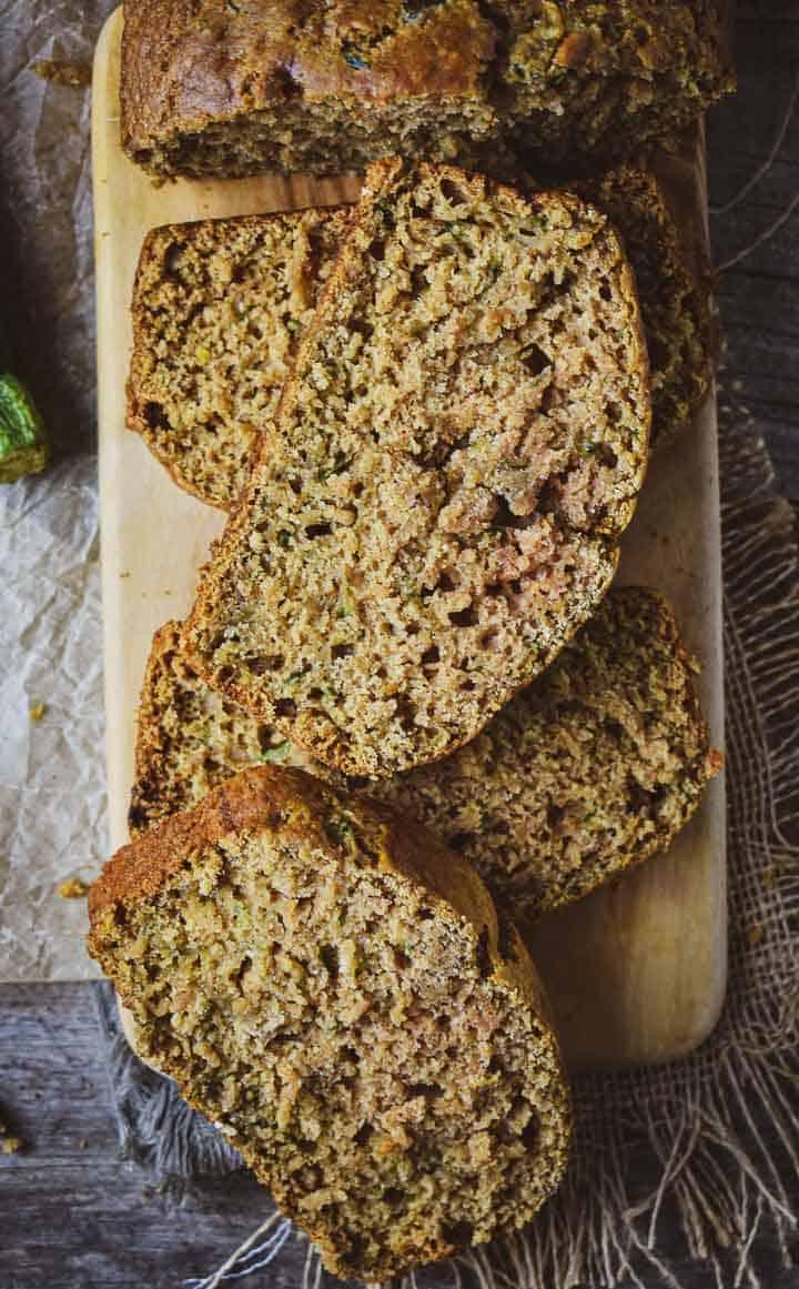Vegan zucchini bread slices
