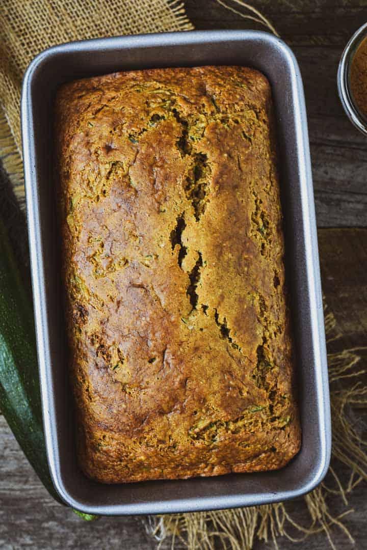 Vegan zucchini bread in loaf pan