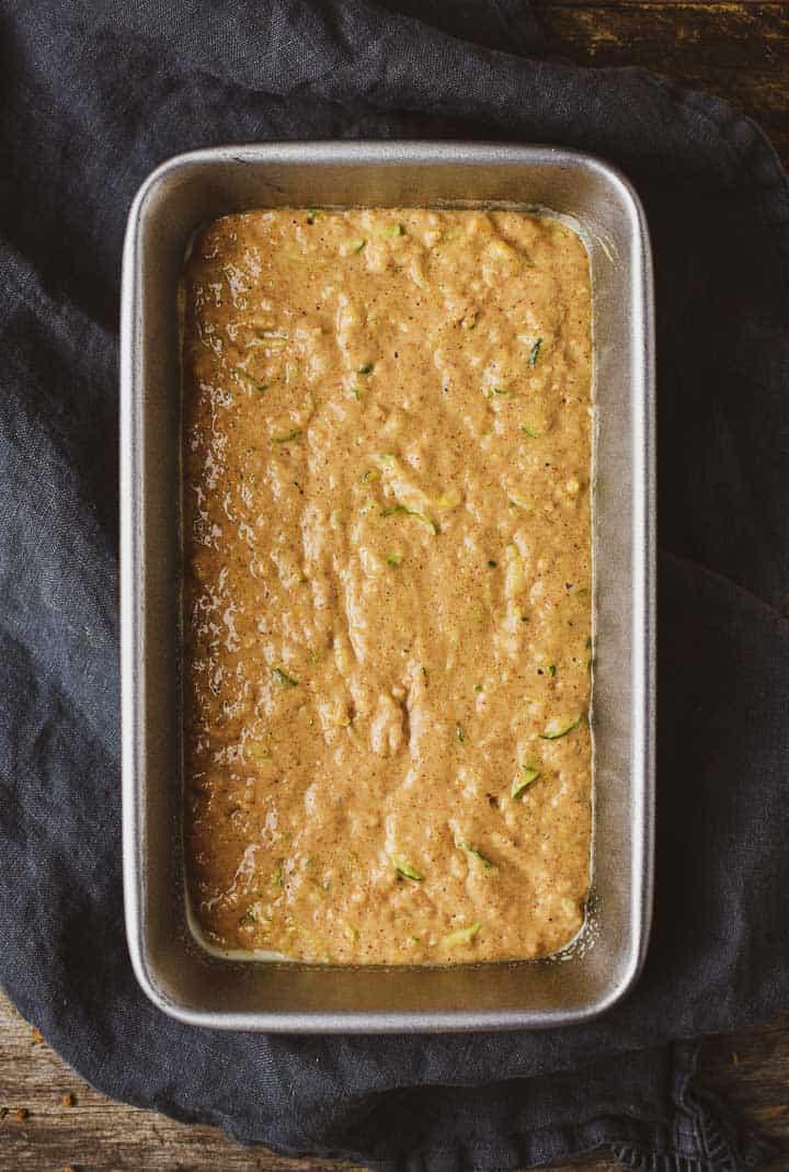Zucchini bread batter in loaf pan