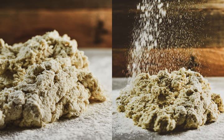 Horizontal picture of flour and dough.