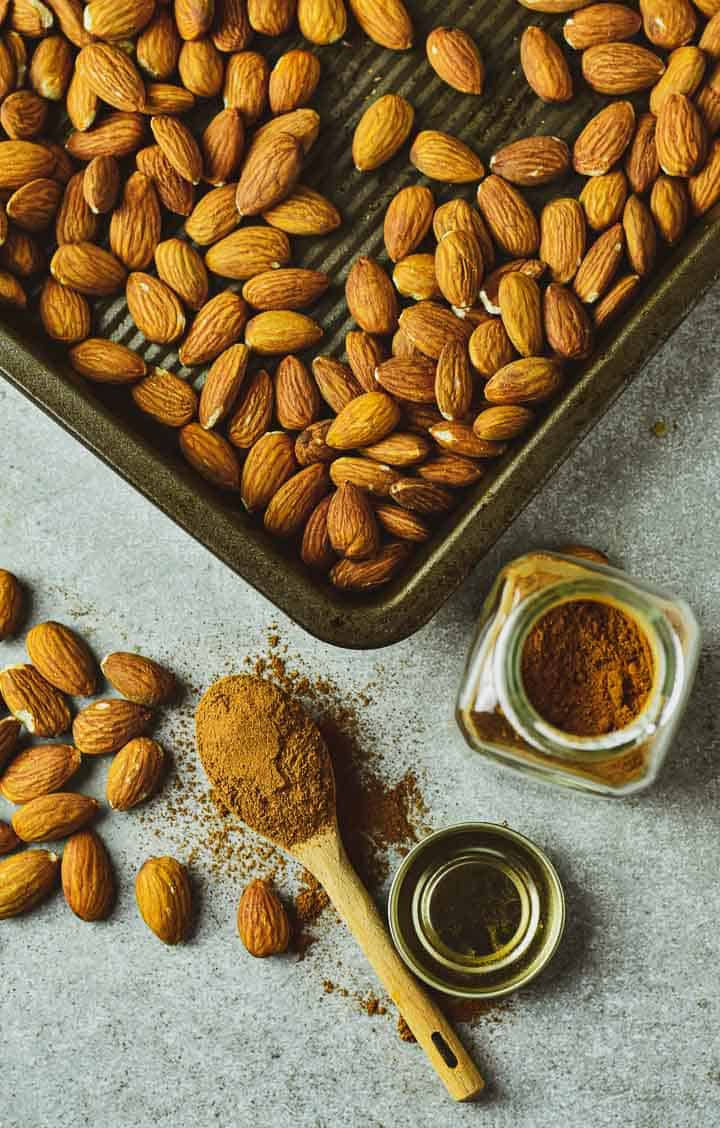 Tray of roasted almonds with pumpkin spice