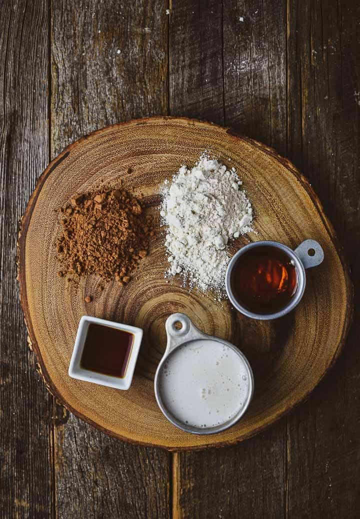 Gravy ingredients on wood cutting board.