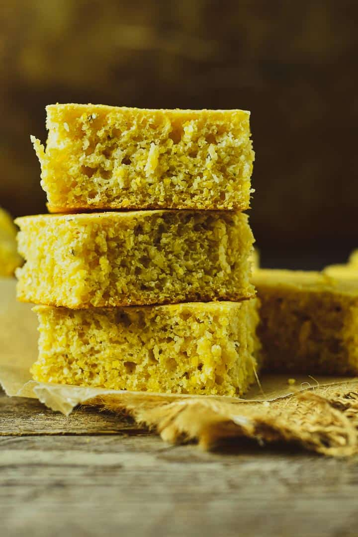Vegan cornbread stacked up.