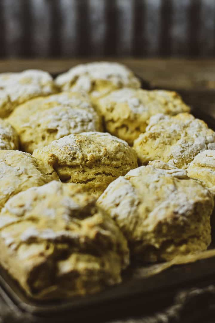 Biscuits on baking sheet.