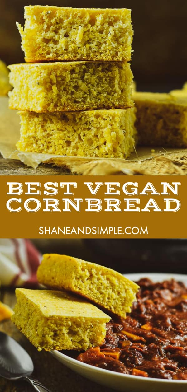 cornbread on top and bottom of picture with title in the middle for pinterest.