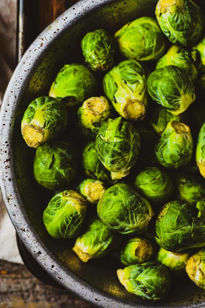 Bowl of raw brussels sprouts.