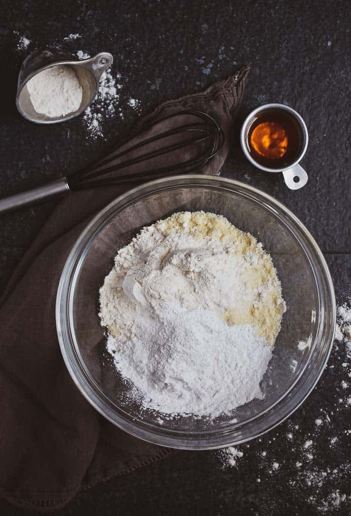 Flour in mixing bowl.