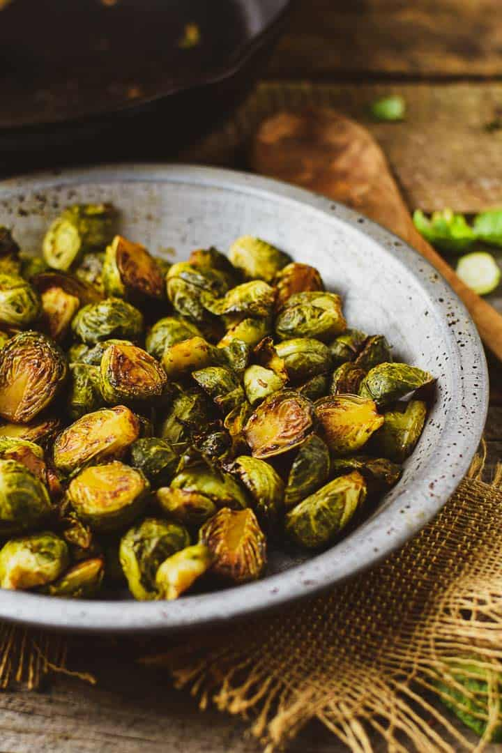 Roasted Brussels sprouts in bowl.