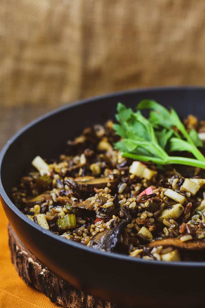Pan with vegan wild rice stuffing.