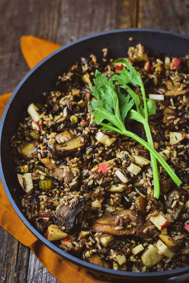 Vegan wild rice stuffing in pan.