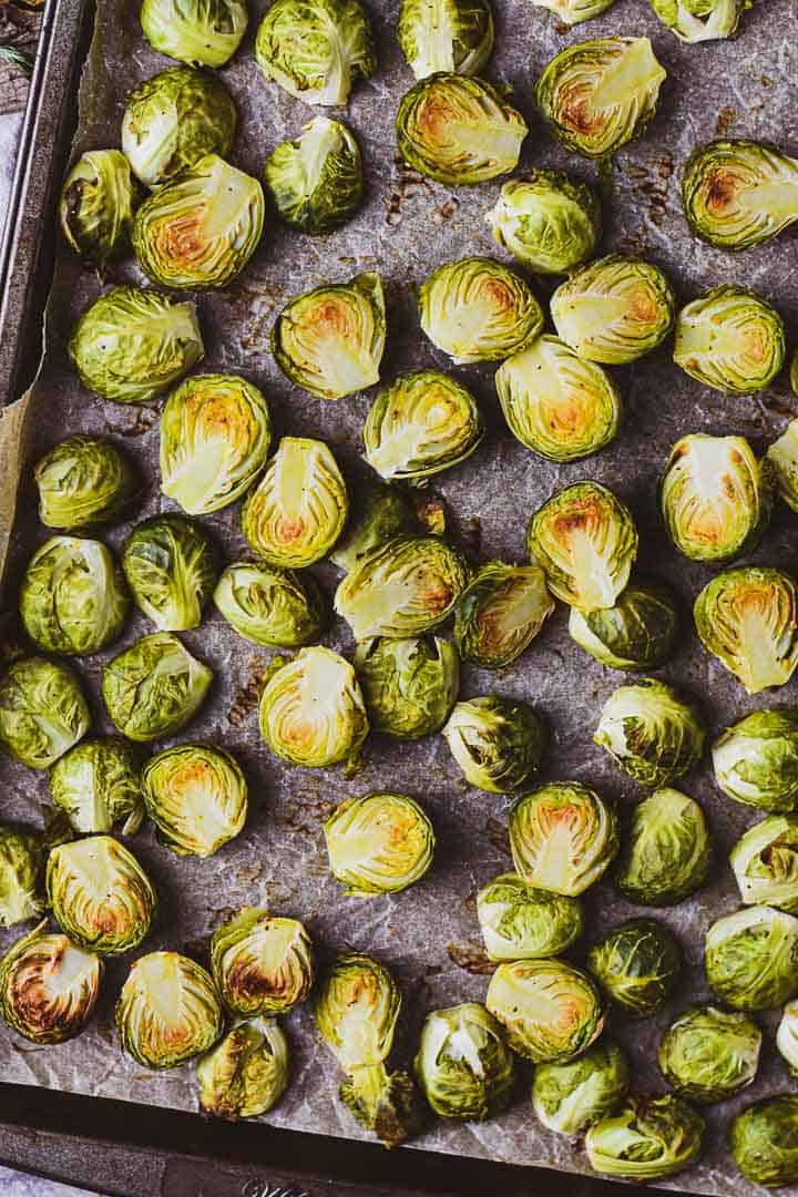 Brussels sprouts on baking pan.