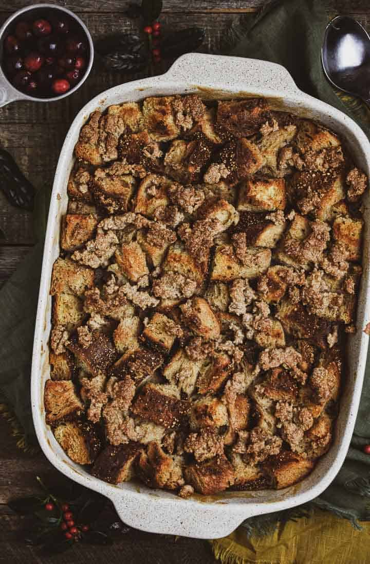 Vegan french toast casserole in baking dish without icing.