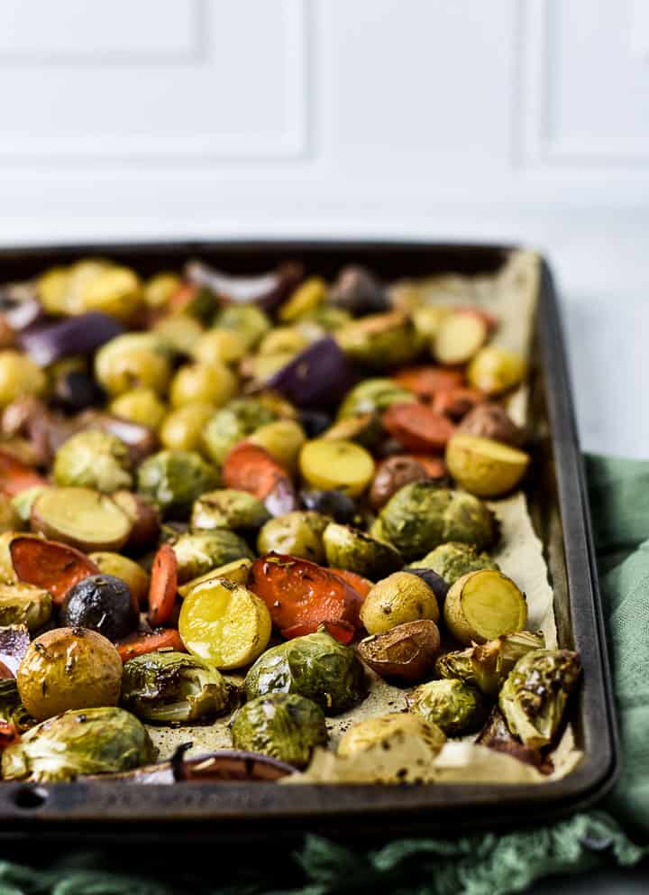 Roasted vegetables on baking sheet.