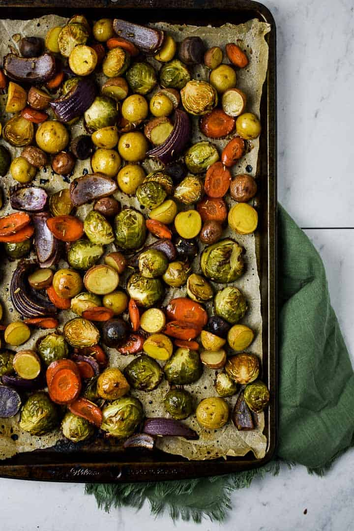 Oven roasted vegetables on baking sheet.